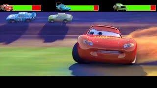 Cars Final amp Crash Scene With HealthBars  - Remake Video  Mcqueen No1