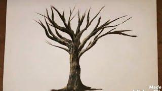 كيفية رسم شجرة بدون أوراق How To Paint A Tree Without Leaves Step By Step Acrylic Art Youtube