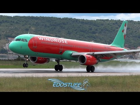 Wet Landing and Thrust Reverse - Wind Rose Airlines Airbus A321-231 UR-WRH - Split Airport