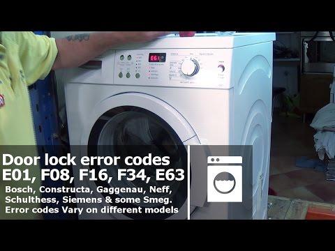 Washing machine Doorlock error codes E01, F08, F16, F34, E61 Bosch, Neff, Siemens