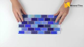 Glass Pool Tile Shimmer Blue 1x2-120KEEKELU12AQBLBA