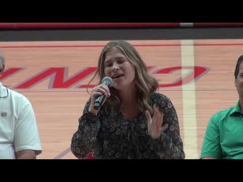 Here Come the Irish  - 15 year old Whitney performs at ND USC pep rally 2018