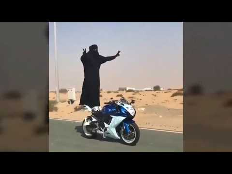 SAUDI WOMAN DRIVING A MOTORCYCLE Hilarious Funniest Video EVER #2017 TRY NOT TO LAUGH