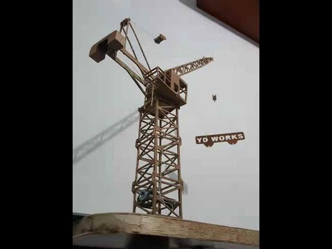 DIY tower crane luffing jib with wood