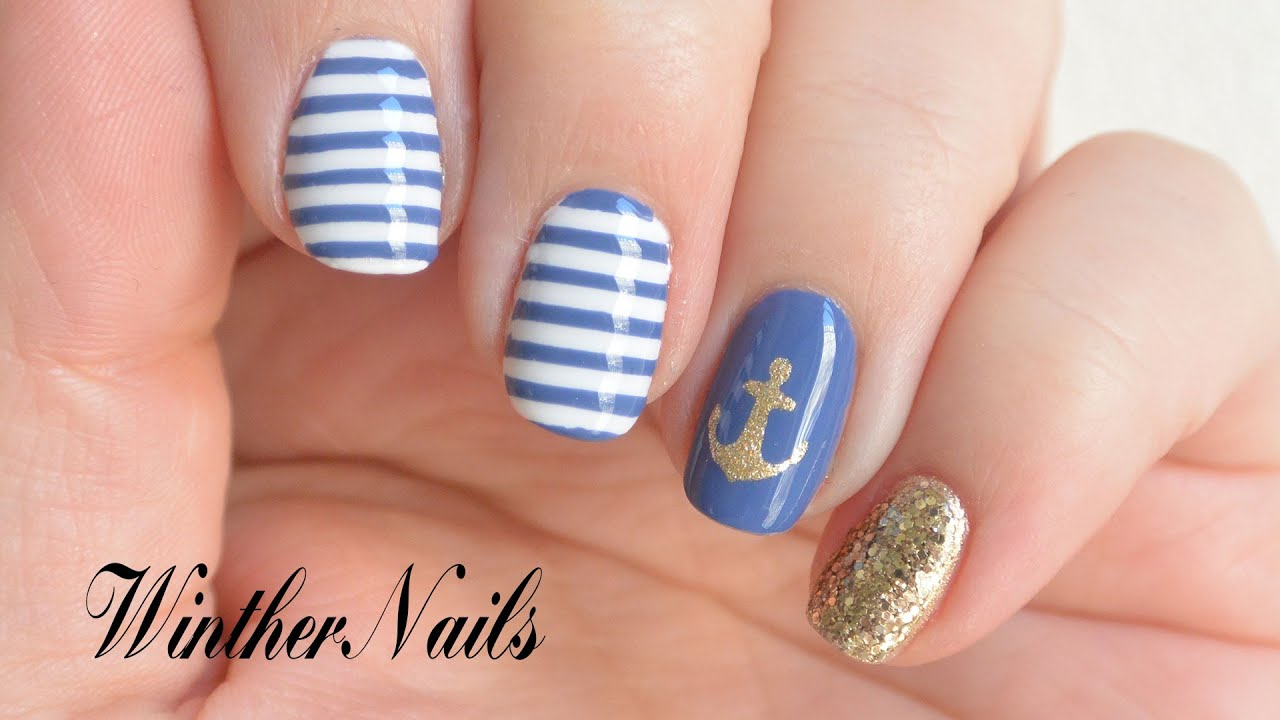 Easy Nautical Nail Design