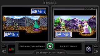 Shining Force (Sega Genesis vs GBA) Side by Side Comparison (Mega Drive vs GBA) Game Boy Player