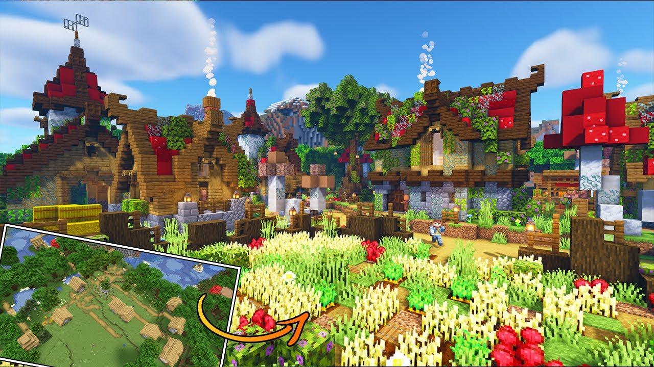 Minecraft Village Transformation Timelapse [Dark Oak Forrest Village]