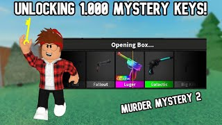 UNBOXING 1,000 MYSTERY KEYS! (Murder Mystery 2) I GOT A LOT OF GODLIES!!!