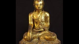Antique wooden Mandalay Buddha statue in Bhumisparsha Mudra originated from Burma