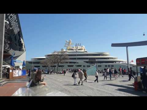 M/Yacht Dilbar Leaving Port Vell (Barcelona)