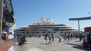M/Yacht Dilbar Leaving Port Vell (Barcelona)