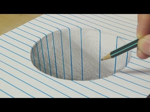 Drawing a Round Hole on Line Paper - Trick Art with Graphite Pencil for Kids and Adults