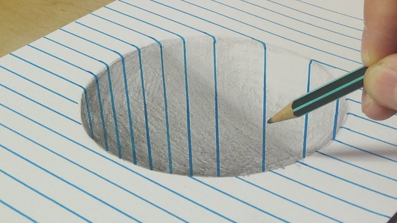drawing a round hole trick art with graphite pencil by vamos