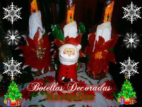 Como hacer botellas decoradas navide as how to make for Botellas de vidrio decoradas para navidad