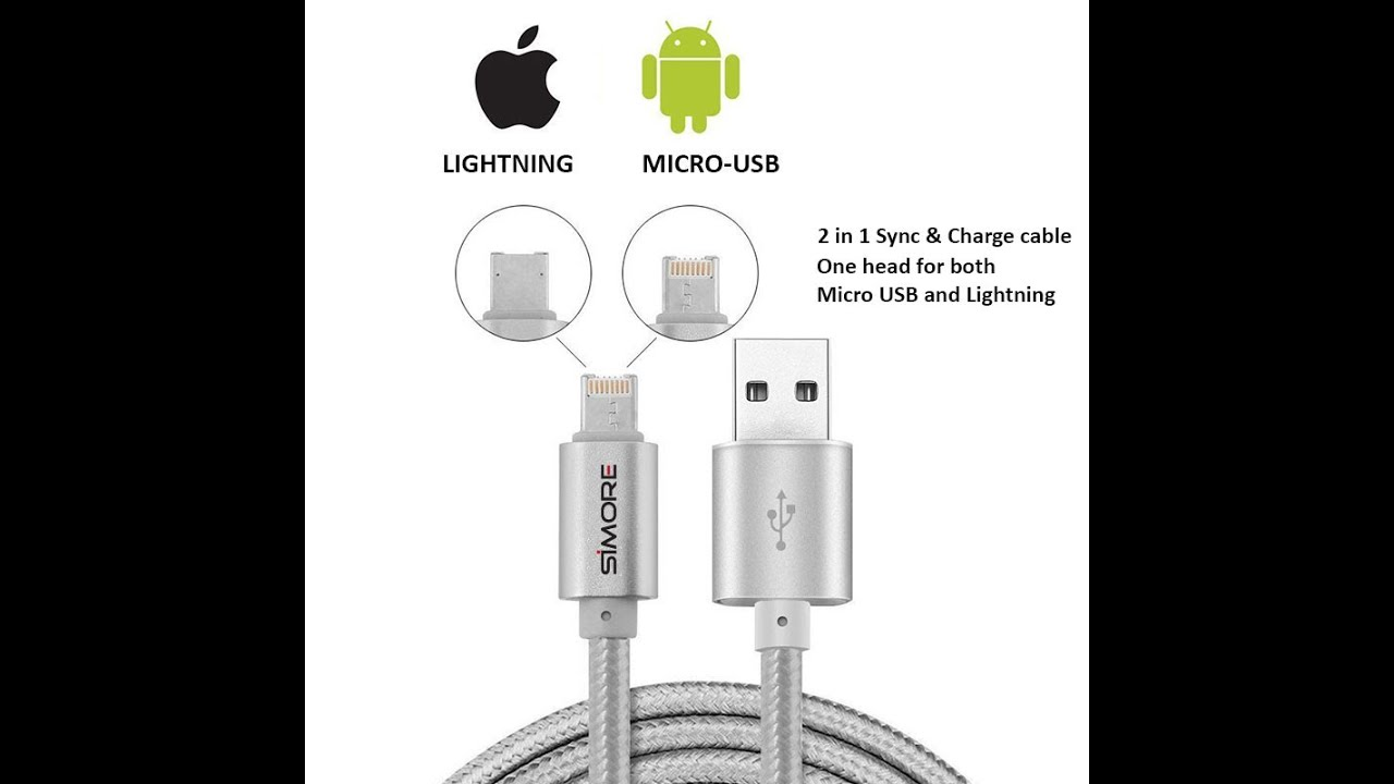 dualcable lightning   micro usb connector fast charging