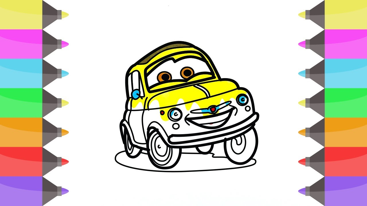 coloring pages disney cars 3d yellow cars coloring book videos for