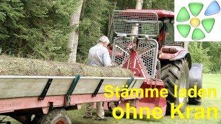 Stämme alleine auf Rückewagen laden 🌲 ohne Forstkran 🌲 mit Dielen, Seilwinde 🌲 gutscheingarten
