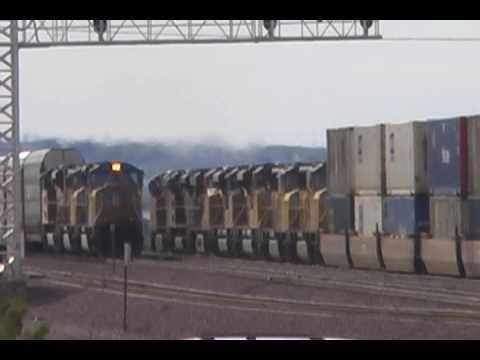 Union Pacific Double Decker With Seven Locomotives - Daggett, California