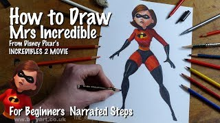 How to Draw Mrs Incredible Elastigirl - Helen Parr from Incredibles 2 voiced by Holly Hunter