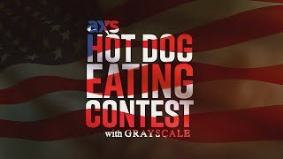hot dog eating contest with grayscale