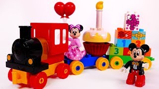 Mickey Mouse Minnie Mouse Train Toys Playset Building Blocks for Kids