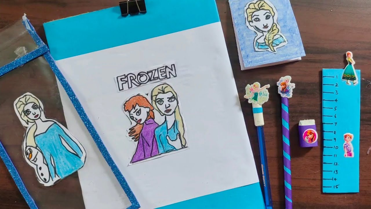 Home made  Frozen Dolls stationery kit/Anna Elsa stationary things/Back to school craft/craft tamil