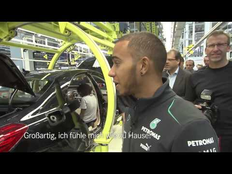 Lewis Hamilton, Nico Rosberg and Toto Wolff at the Mercedes-Benz plant in Sindelfingen