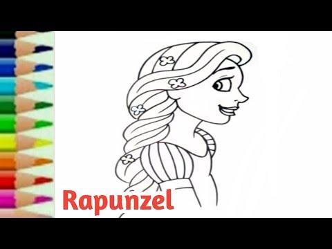 Belajar Menggambar Putri Rapunzel Kartun Princess Disney Untuk
