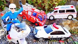 そとではたらくくるまを白バイ警察が探しに行くよ♪ パトカー 救急車 消防車 ごみ収集車