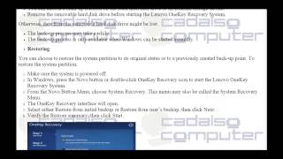 Lenovo OneKey Recovery 8 0 for Notebooks