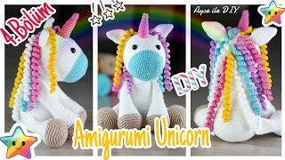Amigurumi Unicorn Yapımı - Arka Bacak, Boynuz, Yele Yapılışı ve Birleştirme 4.Bölüm  ayseilediy