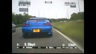 1000 BHP Nissan Skyline R34 street racing at 147 mph; chased by the police along the highway.