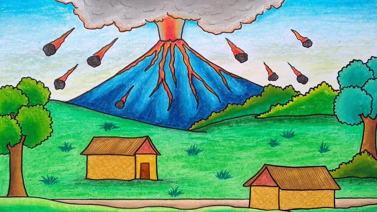 Menggambar Dan Mewarnai Gunung Meletus Menggambar Pemandangan Gunung Gambar Gunung Berapi Youtube