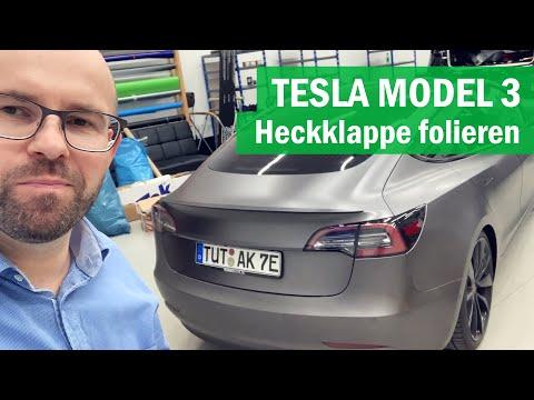 Tesla Model 3: Heckklappe folieren und Carbonspoiler montieren