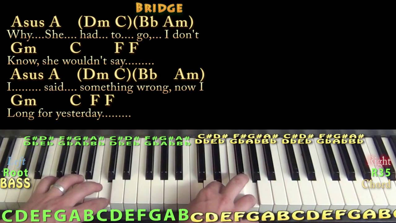 Yesterday the beatles piano cover lesson with chordslyrics yesterday the beatles piano cover lesson with chordslyrics youtube hexwebz Choice Image