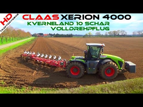 Claas Xerion 4000 @ Kverneland 10 coulter plough with full-sweep ploughing