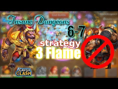 Castle Clash Insane Dungeon 6-7 3flame Strategy_ Without MINO