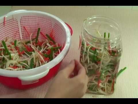 Vietnamese Food Bean Sprout Pickles - Day Nau An Dua Gia - Dưa Giá