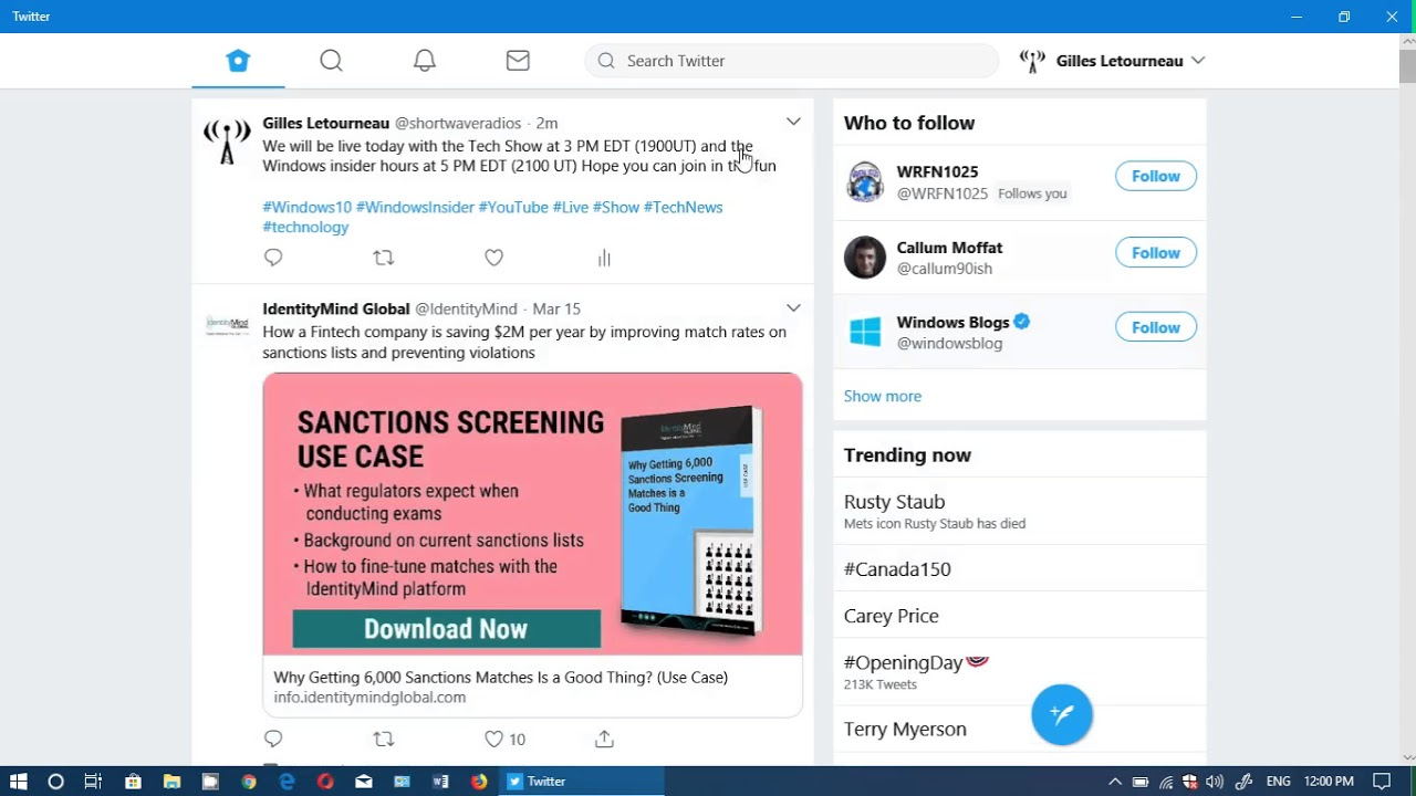 Windows 10 Spring Creators update Twitter app updated PWA