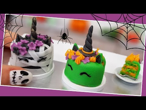 Halloween UNICORN zombie & witch cakes ???? /real mini cakes/DIY/ Jenny's mini cooking / How to make
