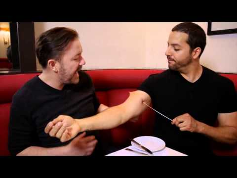 "Comedian Ricky Gervais ""this is Insane"" Magician David Blaine"