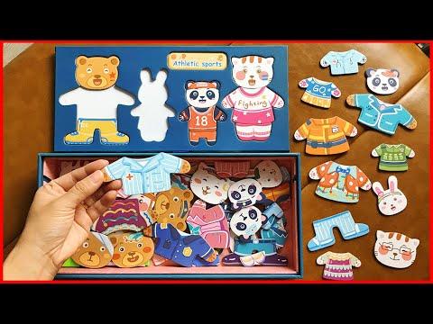 GHÉP HÌNH THAY QUẦN ÁO CHO GIA ĐÌNH GẤU MÈO THỎ - Dress the teddy bear, rabbit, cat (Chim Xinh)