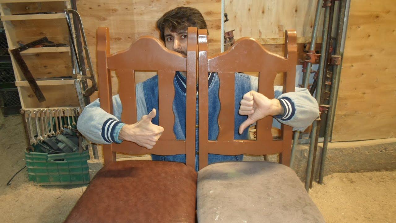 Algo mas como tapizar sencillo sillas youtube for Tapizar sillas de madera