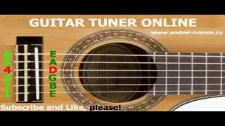 TUNE GUITAR, TUNER ONLINE for tuning acoustic guitar in standard strings EBGDAE, interactive version