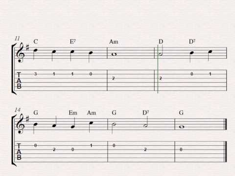 Free easy guitar tablature sheet music, Abide With Me
