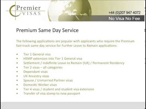 Premier Visas Premium Same Day Visa - Book Your PEO Appointment Today.