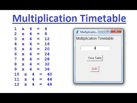 Python Tkinter GUI Tutorial of How to Create Multiplication Table