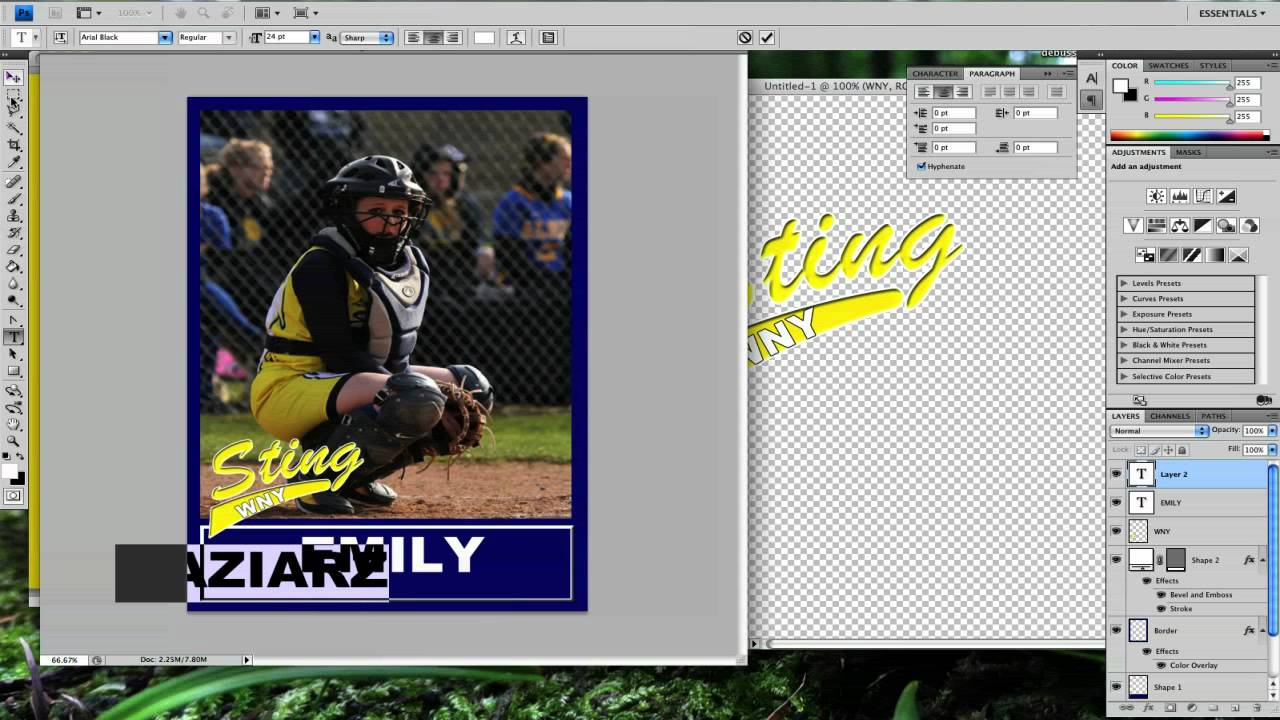 Photoshop Tutorial Baseball Card Youtube