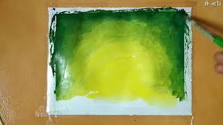 How to draw a night sky scenery drawing of a girl swing.acrylic simple scenery drawing.sillohoute