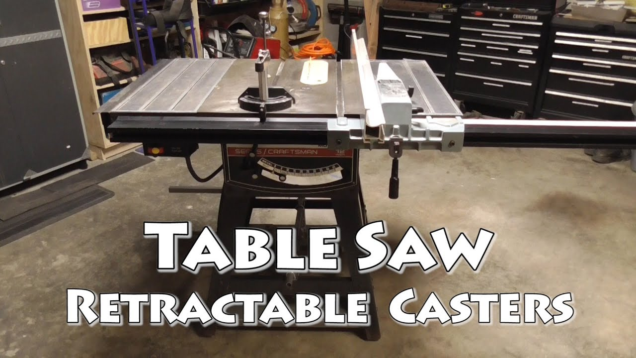 Retractable Casters For Table Saw Mobile Base Youtube